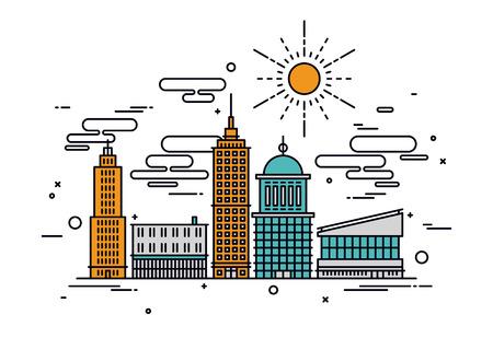 Dunne lijn platte ontwerp van de zakelijke stad architectuur, de commerciële bouw en straat faciliteiten, grote centrale wijk met kantoren. Moderne vector illustratie concept, geïsoleerd op een witte achtergrond.
