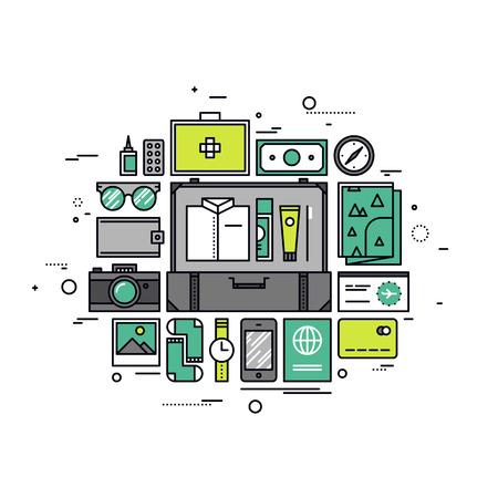 packing suitcase: Linea sottile design piatto di pianificazione di una vacanza, la preparazione dei bagagli per la crociera, della valigia per il viaggio, passeggero bagaglio con oggetti. Moderno concetto illustrazione vettoriale, isolato su sfondo bianco.