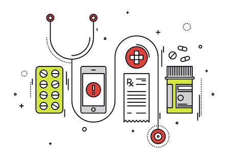 Diseño delgado línea plana de la medicina de diagnóstico y prescripción de medicamentos, equipos médicos, servicio de aplicación médica en el smartphone. Moderno concepto de ilustración vectorial, aislados en fondo blanco.