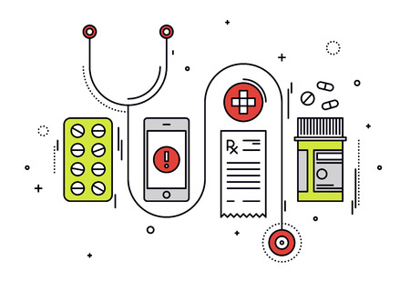 Thin line flat design of medicine diagnostic and medication prescription, healthcare equipment, medical app service on smartphone. Modern vector illustration concept, isolated on white background.