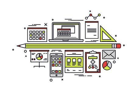 Diseño plano de línea fina de datos financieros contables, base de datos web con gráfico de negocios, planificación fiscal y archivos de información de presupuesto de la empresa. Concepto de ilustración vectorial moderna, aislado sobre fondo blanco.