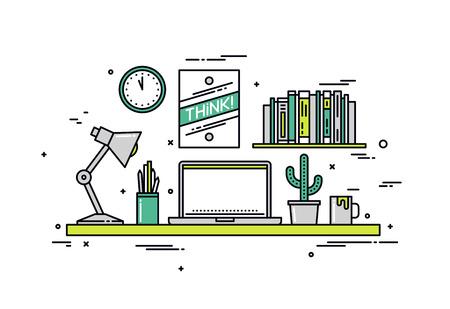 창조적 인 디자이너 작업 공간의 얇은 라인 평면 디자인, 노트북과 현대적인 사무실 책상, 방 인테리어 벽에 멋진 힙 스터 포스터. 흰색 배경에 고립 된