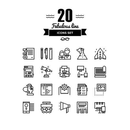 Lignes fines icons set de solution de démarrage d'entreprise, la société de développement de la marque, des outils de production web de flux de travail, des services de marketing. La conception de vecteurs de contour infographie moderne, le concept logo pictogramme simple.