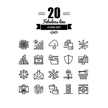 Dünne Linien-Icons Set von großen Rechenzentren Graph, Cloud-Computing-System, Internet-Schutz Passwort-Zugang, technisches Instrument. Moderne Infografik Umrißvektor Design, einfache logo Piktogramm Konzept. Illustration