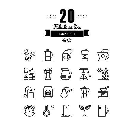 arabica: Thin lines icons set of coffee preparation process, cup of tea, hot americano to go, glass of water, hot drinks with honey. Modern infographic outline vector design, simple logo pictogram concept.