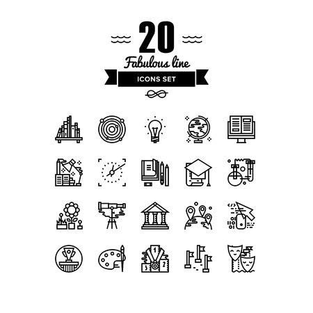 Líneas finas iconos conjunto de línea diploma de educación academia, proceso de aprendizaje a distancia de personas, la escuela de arte de teatro, la lectura de libros. Diseño infografía vector esquema moderno logotipo simple concepto de pictograma
