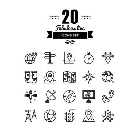distance marker: Thin lines icons set of geo-location mapping pin, global positioning system navigation, geo targeting marker, satellite signal. Modern infographic outline vector design, simple logo pictogram concept.