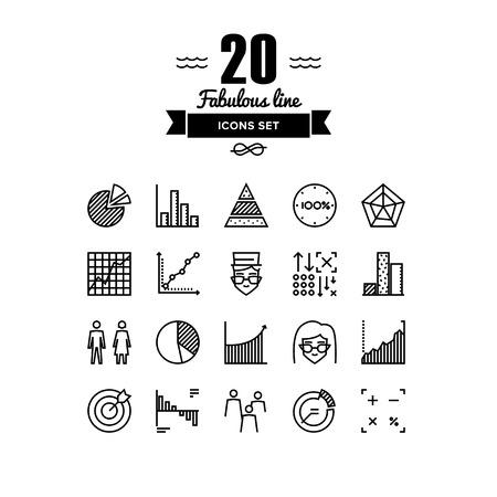 accounting: Líneas finas iconos conjunto de elementos infográficos, estadísticas Infochart, análisis de datos grandes, gráfico empresa y gráfico, la gente las estadísticas. Esquema de diseño vectorial infografía moderna, simple concepto logo pictograma. Vectores
