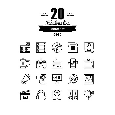 Thin lines icons set of multimedia and presentation objects, audio records, video clips, gaming and various media elements. Modern infographic outline vector design, simple logo pictogram concept.