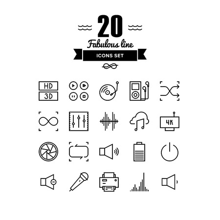 multimedia icon: Thin lines icons set of multimedia interface elements, power button, audio and video menu info graphic, media speaker settings. Modern infographic outline vector design, simple logo pictogram concept.