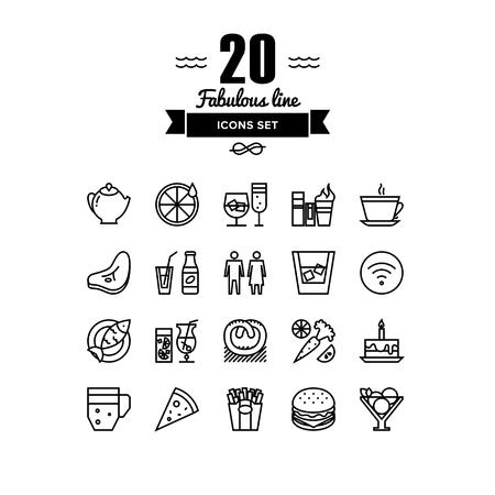 limonada: Líneas finas iconos conjunto de restaurante de comida y bebidas, artículos de menú del café, de objetos populares culinaria sana y varios de comida rápida. Esquema de diseño vectorial infografía moderna, simple concepto logo pictograma.