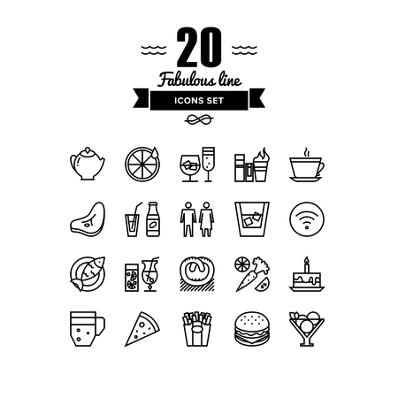 Thin lines icons set of restaurant food and beverages, cafe menu items, popular healthy and various fast-food culinary object. Modern infographic outline vector design, simple logo pictogram concept.