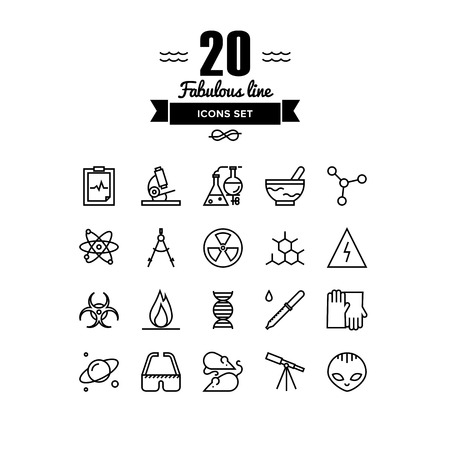 genome: Thin lines icons set of scientific experiments, bio technology genome testing, alien life form hazardous materials research. Modern infographic outline vector design, simple logo pictogram concept.