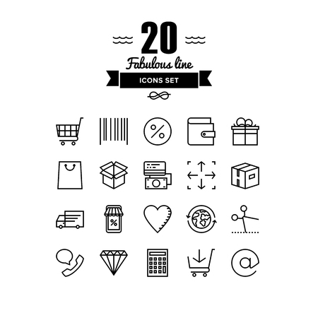 online logo: Thin lines icons set of internet shopping elements, retail store service, online shopping goods, buying product via internet. Modern infographic outline vector design, simple logo pictogram concept.