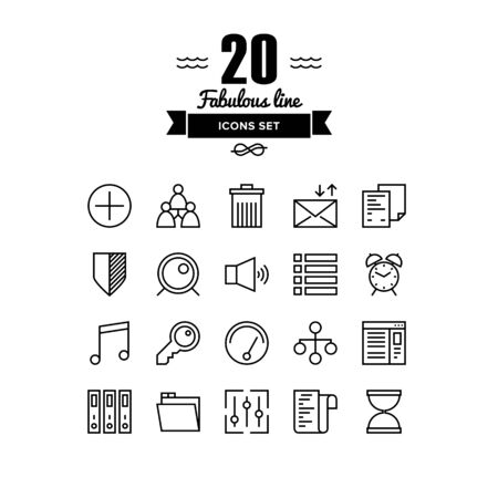 leadership key: Thin lines icons set of various basic elements, office management things, simple accounting web tools and user interface things. Modern infographic outline vector design, simple logo pictogram concept.