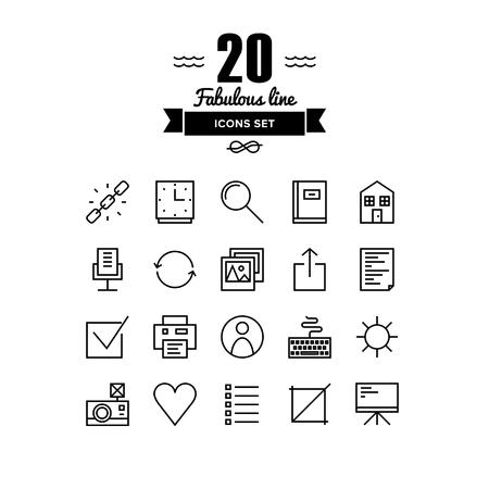 general idea: Líneas finas iconos conjunto de elementos básicos web, cosas de interfaz de usuario, varios de oficina y símbolo de la gestión, herramientas de presentación del trabajo. Esquema de diseño vectorial infografía moderna, simple concepto logo pictograma. Vectores