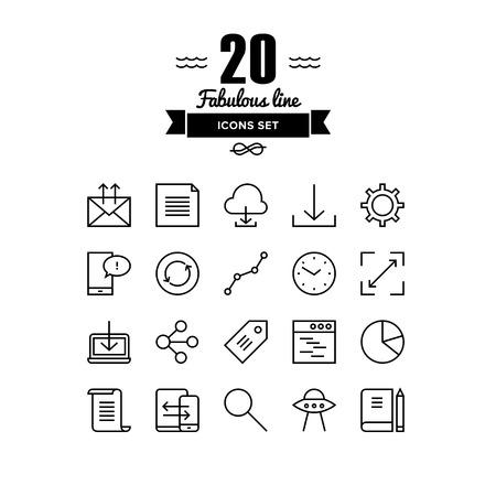 globális üzleti: Vékony vonalak ikonok meg a felhő hálózatépítés, irodai munkafolyamat tárgy, globális üzleti kommunikáció, a mobil felhasználói felület elemeit. Modern infographic vázlat vektor design, egyszerű logo piktogram fogalmát.