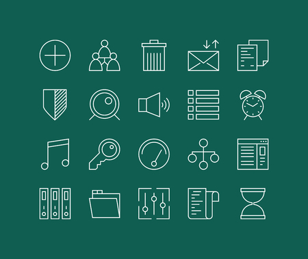 Thin lines icons set of various basic elements, office management things, simple accounting web tools and user interface things. Modern infographic outline vector design, simple logo pictogram concept.