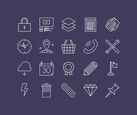 rayo electrico: Líneas finas iconos conjunto de equipos necesarios negocio, oficina herramientas esenciales, accesorios de escritorio y la oferta, utensilios de flujo de trabajo. Esquema de diseño vectorial infografía moderna, simple concepto logo pictograma. Vectores