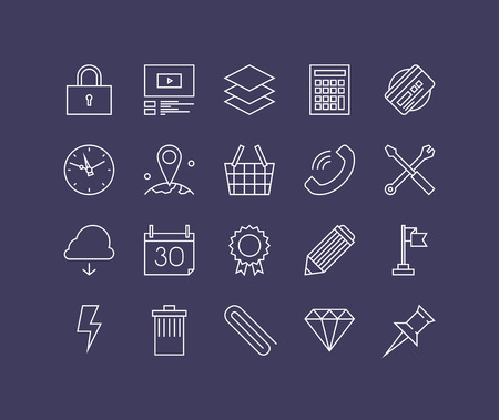 web elements: Thin lines icons set of necessary business equipment, office essential tools, desk accessories and supply, workflow utensils. Modern infographic outline vector design, simple logo pictogram concept. Illustration