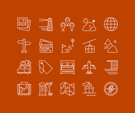 Thin lines icons set of vacation planning, tourism and travel object, map navigation element, holiday trip, various transport. Modern infographic outline vector design, simple logo pictogram concept.