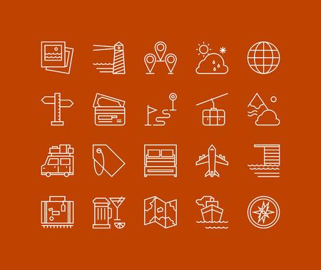 Lignes fines icons set de la planification des vacances, le tourisme et l'objet de Voyage, élément de carte de navigation, voyage de vacances, transports divers. La conception de vecteurs de contour infographie moderne, le concept logo pictogramme simple. Banque d'images - 40717319