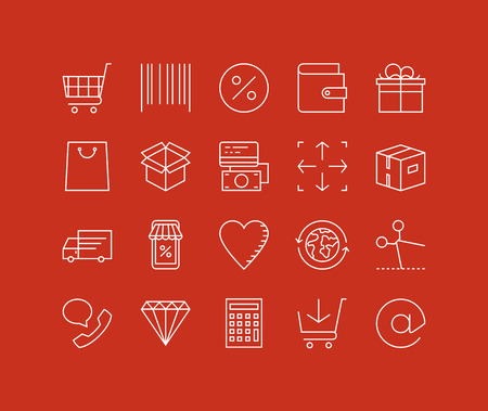 coupon: Thin lines icons set of internet shopping elements, retail store service, online shopping goods, buying product via internet. Modern infographic outline vector design, simple logo pictogram concept.