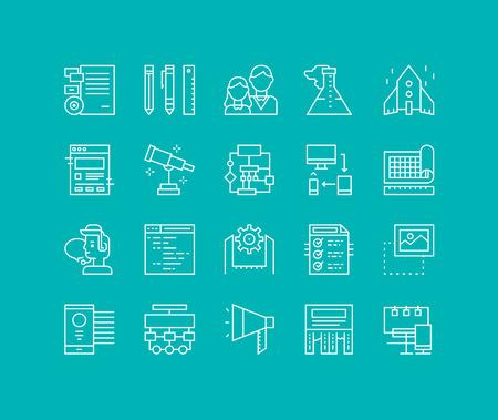 contorno: Líneas finas iconos conjunto de la solución de inicio de negocios, desarrollo de marca de la empresa, las herramientas de producción de flujo de trabajo web, servicios de marketing. Esquema de diseño vectorial infografía moderna, simple concepto logo pictograma. Vectores