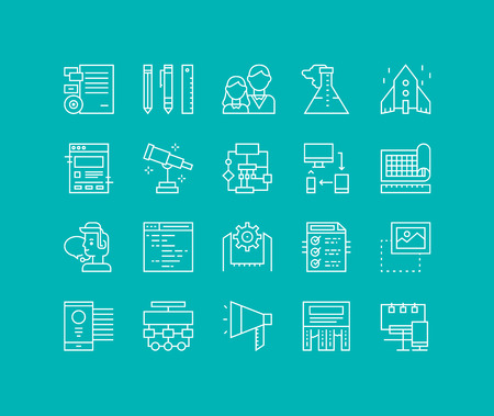 dessin: Lignes fines icons set de solution de démarrage d'entreprise, la société de développement de la marque, des outils de production web de flux de travail, des services de marketing. La conception de vecteurs de contour infographie moderne, le concept logo pictogramme simple.