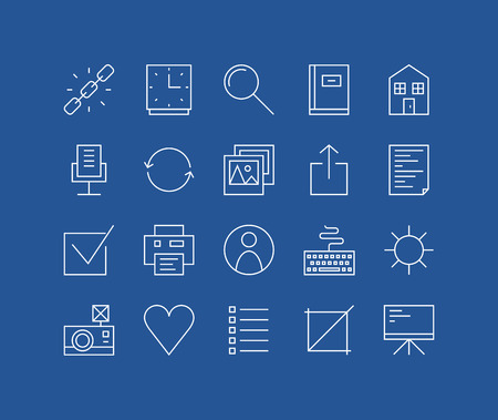 Thin lines icons set of basic web elements, user interface things, various office and management symbol, work presentation tools. Modern infographic outline vector design, simple logo pictogram concept. Vector