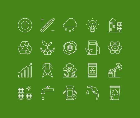 Dunne lijnen iconen set van ecologie natuur- en milieu, groene energie-efficiëntie, elektriciteit stroomverbruik. Modern infographic schets vector ontwerp, eenvoudig logo pictogram concept. Logo