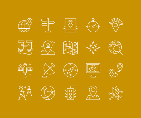 satellite navigation: L�neas finas iconos conjunto de geo-ubicaci�n pin mapeo, navegaci�n sistema de posicionamiento global, orientaci�n geogr�fica marcador, se�al de sat�lite. Esquema de dise�o vectorial infograf�a moderna, simple concepto logo pictograma.