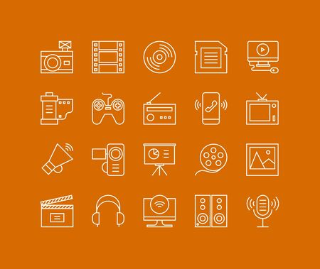 multimedia: Thin lines icons set of multimedia and presentation objects, audio records, video clips, gaming and various media elements. Modern infographic outline vector design, simple logo pictogram concept.