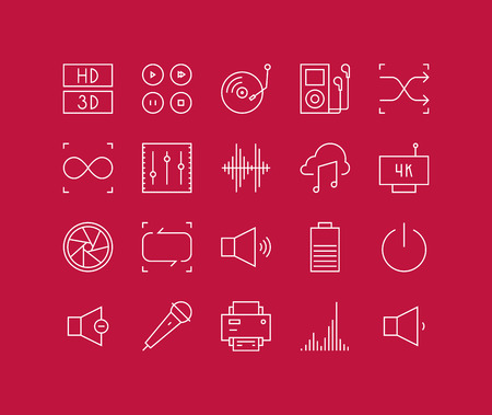 audio video: Thin lines icons set of multimedia interface elements, power button, audio and video menu info graphic, media speaker settings. Modern infographic outline vector design, simple logo pictogram concept.