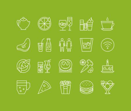 saludable logo: Líneas finas iconos conjunto de restaurante de comida y bebidas, artículos de menú del café, de objetos populares culinaria sana y varios de comida rápida. Esquema de diseño vectorial infografía moderna, simple concepto logo pictograma.