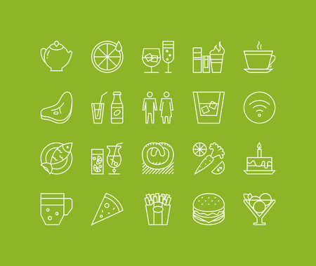 simple logo: Thin lines icons set of restaurant food and beverages, cafe menu items, popular healthy and various fast-food culinary object. Modern infographic outline vector design, simple logo pictogram concept.