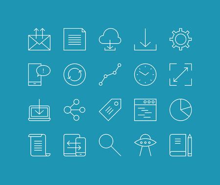 general idea: Líneas finas iconos conjunto de las redes de nube, objeto de flujo de trabajo de la oficina, la comunicación empresarial global, elemento de la interfaz de usuario móvil. Esquema de diseño vectorial infografía moderna, simple concepto logo pictograma.