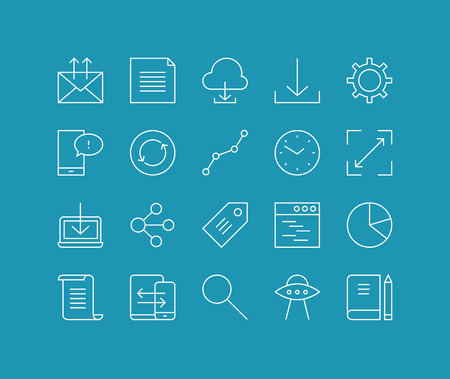 Thin lines icons set of cloud networking, office workflow object, global business communication, mobile user interface element. Modern infographic outline vector design, simple logo pictogram concept. Vector