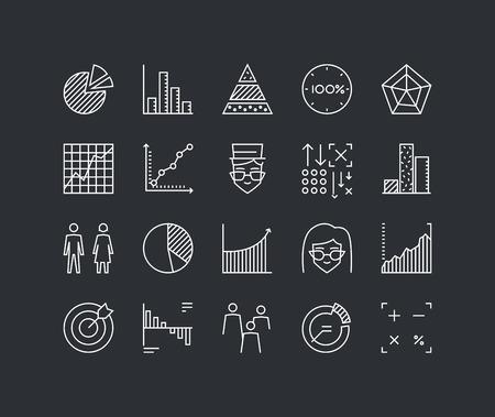 Dunne lijnen iconen set van infographics elementen, Infochart statistieken, big data analytics bedrijf grafiek en grafiek, mensen statistieken. Modern infographic schets vector ontwerp, eenvoudig logo pictogram concept.
