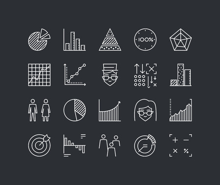 Thin lines icons set of infographics elements, infochart statistics, big data analytics, company chart and graph, people stats. Modern infographic outline vector design, simple logo pictogram concept. Illustration