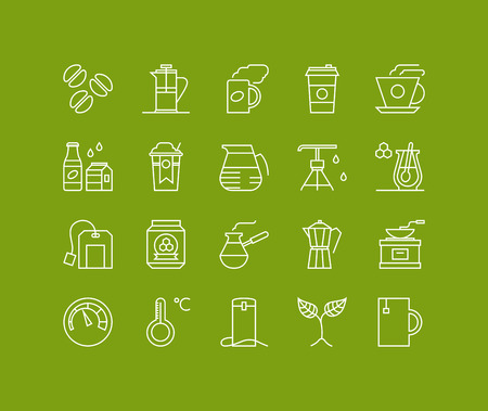 Thin lines icons set of coffee preparation process, cup of tea, hot americano to go, glass of water, hot drinks with honey. Modern infographic outline vector design, simple logo pictogram concept. Vector