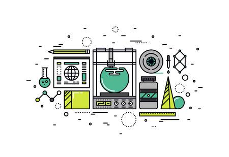 prototipo: Línea fina diseño plano de la tecnología 3D de la impresora, creación rápida de prototipos y producción rápida, innovadora modelado 3d y el proceso de impresión. Moderno concepto de ilustración vectorial, aislados en fondo blanco.