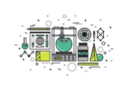 Thin line flat design of 3D printer technology, rapid prototyping and fast production, innovative 3d modeling and printing process. Modern vector illustration concept, isolated on white background. Illustration