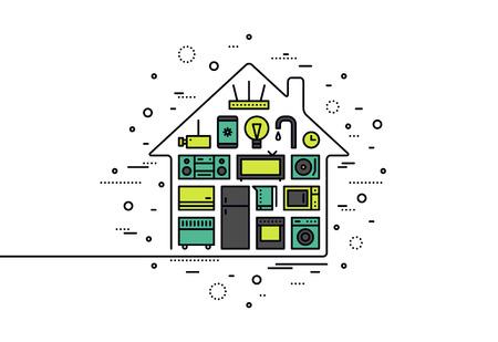 gospodarstwo domowe: Cienka linia płaska inteligentnych urządzeń domowych, scentralizowany system kontroli bezprzewodowej technologii do monitorowania i rzeczy elektronicznych. Nowoczesne ilustracji wektorowych koncepcji, samodzielnie na białym tle.