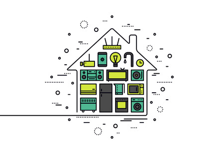 Thin line flat design of smart house appliances, centralized wireless technology control system for monitoring and electronic things. Modern vector illustration concept, isolated on white background.