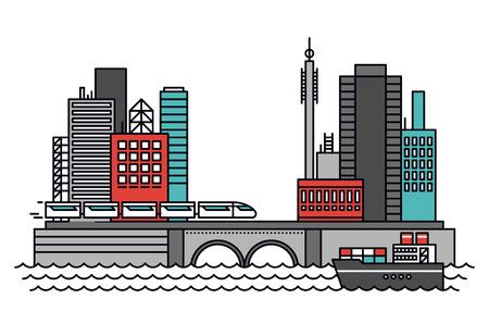 infraestructura: Dise�o delgado l�nea plana del extracto de la configuraci�n de la ciudad de negocios existentes, la infraestructura urbana para el transporte y el transporte de env�o. Moderno concepto de ilustraci�n vectorial, aislados en fondo blanco. Vectores