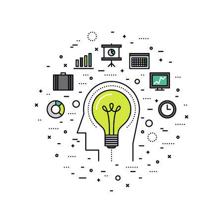 Thin line flat design of business innovation idea, invention progress of human mind, personal inventiveness for success job workflow. Modern vector illustration concept, isolated on white background.