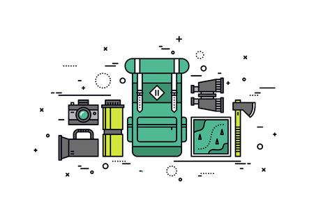 backpack: Diseño delgado línea plana de embalaje mochila y la planificación del viaje, la preparación de los elementos necesarios para la aventura, senderismo equipos de mochilero. Moderno concepto de ilustración vectorial, aislados en fondo blanco.