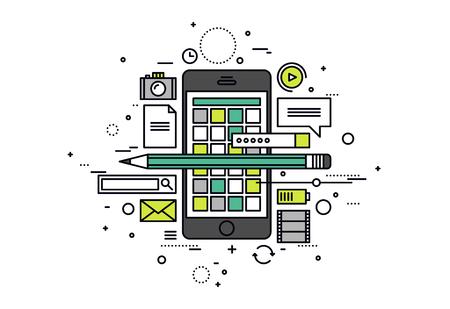 Dunne lijn platte ontwerp van de mobiele apps ontwikkelingsproces, smartphone gebruikersinterface bouw, api testen voor telefoon applicatie. Moderne vector illustratie concept, geïsoleerd op een witte achtergrond. Stock Illustratie