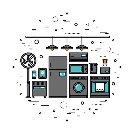 Thin line flat design of smart home appliances, future digital technology in everyday life, internet of things for consumer electronic. Modern vector illustration concept, isolated on white background.